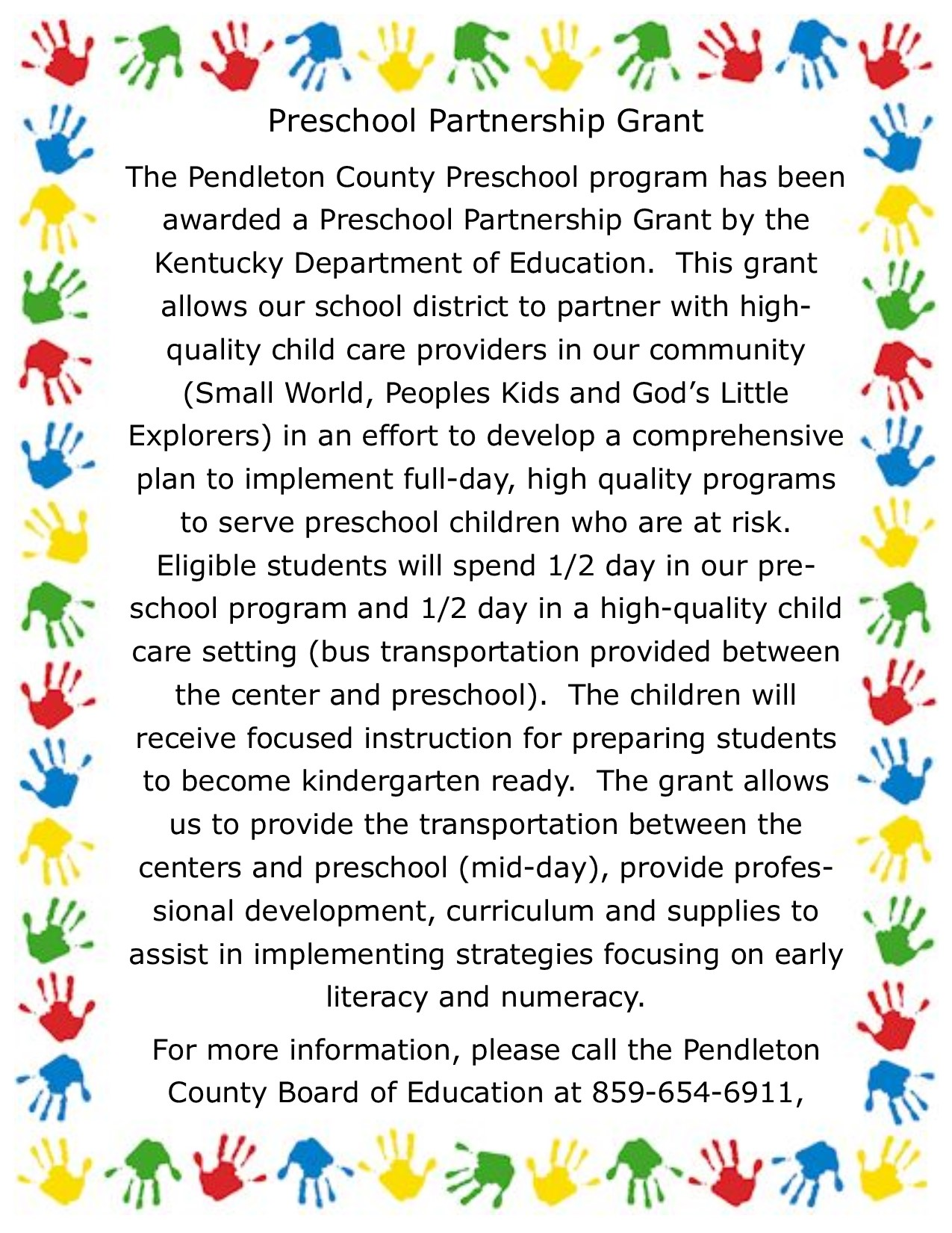Preschool Partnership Announcement